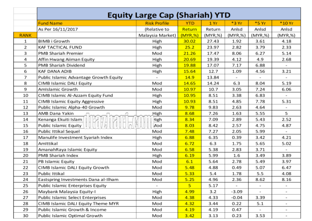 Equity Large Cap YTD As 16.11.2017